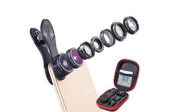APL-DG7 7 in 1 Fisheye Wide Angle Mcro Lens 2X Zoom CPL Filter Kit Set for Moble Phone Tablet