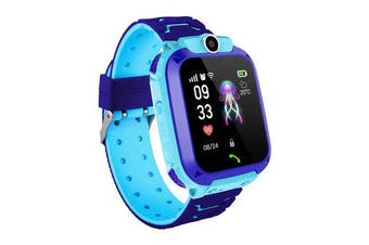 Z5 1.4in GPS Positioning HD Camera Voice Message SOS Anti-lost Chilren Smart Watch Phone LED Touch Screen Waterproof Flashlight Independent Dialing Kids Smart Bracelet BLUE