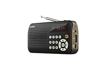 T30 Portable Mini FM Radio Speaker Music Player TF Card USB With LED Display BLACK