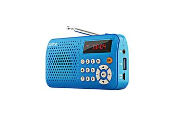 T30 Portable Mini FM Radio Speaker Music Player TF Card USB With LED Display BLUE