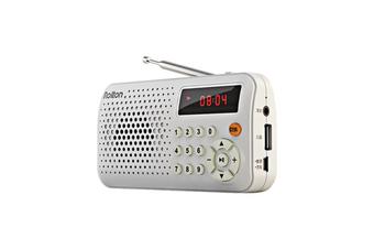 T30 Portable Mini FM Radio Speaker Music Player TF Card USB With LED Display WHITE