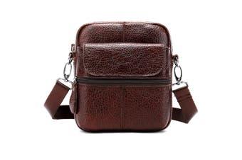 Men Genuine Leather Shoulder Bag Messenger Crossbody Handbag Outdoor Travel COFFEE