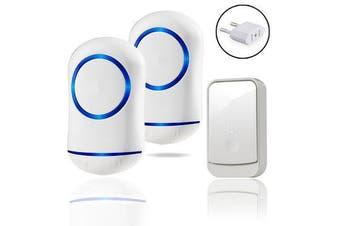 45 Chime Blue LED Battery Wireless Doorbell Door Bell 2 Receiver 300m Range Waterproof