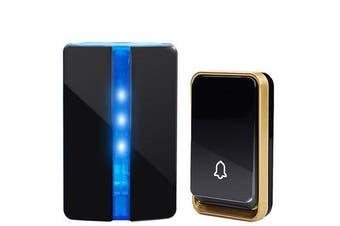 K33 Self-powered Waterproof Wireless DoorBell No Battery Smart Door Bell Chime LED Light Black
