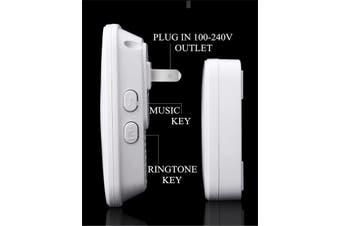 A10 Wireless Doorbell Waterproof 100-240V 300M Range Music Door Bell Home 60 Chimes Door Ring 1 Receiver 1 Transmitter BLACK