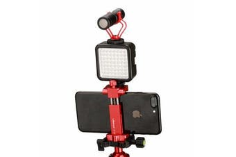 ST-03 Metal Smart Phone Tripod Mount Clip with Cold Shoe Mount Arca-Style Quick Release Plate RED