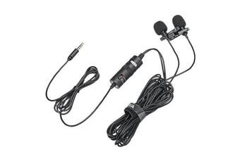 BY-M1DM Broadcast Omnidirectional Collar Dual-Head Lavalier Reverse Clip-on Wired Mic Microphone for Mobile PC Camera
