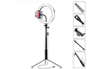 Selfie Stick 5500K Dimmable Video Light 26cm LED Ring Lamp with Phone Holder bluetooth Shutter Wrench for Youtube Tik Tok Live Streaming