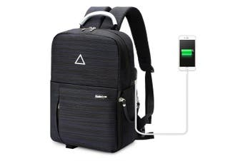 B-10719 USB Charging Camera Bag Backpack for DSLR Camera Lens Tripod BLACK