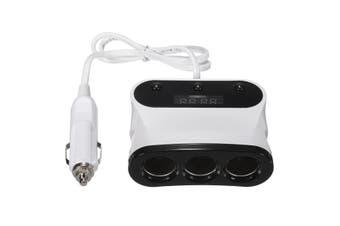 Universal Twin 2 Port USB 12V 24V 3 Way Car Charger Cigarette Socket Lighter LED