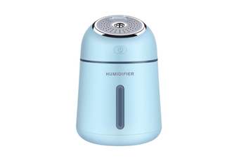 QW-Q008 Portable Air Humidifier 330ML 3 in 1 USB Car Mist Humidifier Office Desktop Air Purifier Refresher with USB Fan and LED Light for Office Car Bedroom Hotel Travelling BLUE