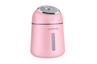 QW-Q008 Portable Air Humidifier 330ML 3 in 1 USB Car Mist Humidifier Office Desktop Air Purifier Refresher with USB Fan and LED Light for Office Car Bedroom Hotel Travelling PINK