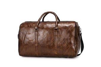 Men Women Leather Duffel Bags Waterproof Large Capacity Folding Sports Travel Bag Fitness Yoga Gym Handbag BROWN