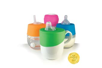 Sippy, Straw and Teat Universal Silicone Stretch Lid Kit - Pink & Orange