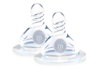 Wide Neck Med Flow Silicone Teat/Nipple - 2PK