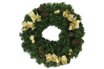 Wreath Champagne Gold with Gold Bows 60cm