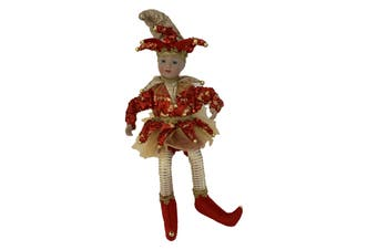 Red Jester Doll Musical Windup