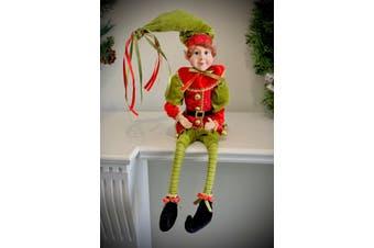 Red/Green Elf Boy Posable 45cm