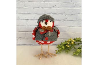 Robin Standing 16cm - Grey/Red Check