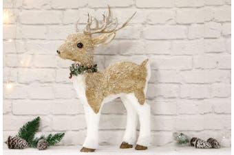 Sisal Reindeer Stand 65cm Holly Collar