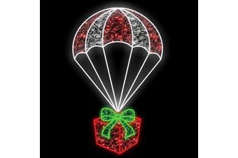 Parachuting Present Red Christmas Rope Light Motif