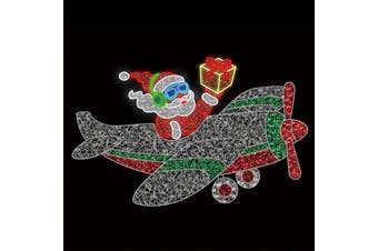 Aeroplane Santa Christmas Rope Light Motif 2.5m