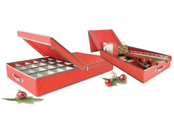 Christmas Decorations Storage Boxes - Set of 2 Red