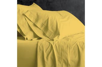 Park Avenue European Vintage Washed Cotton Sheet Sets Queen Misted Yellow