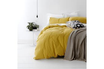 Park Avenue European Vintage Washed Cotton Quilt Cover Set King Misted Yellow