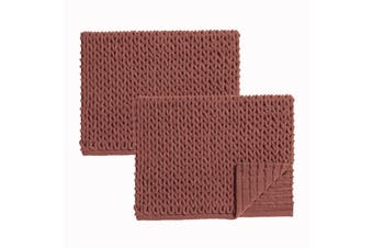 Renee Taylor Cable 100% Cotton Chenille Bath Mat jaffa - pack of 2