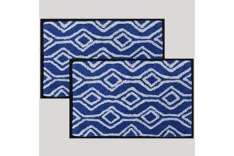 Renee Taylor Catina Yarn Dyed 100% Cotton Bath Mat Royal Blue - pack of 2