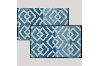 Renee Taylor Cross Cotton Yarn Dyed 100% Cotton Bath Mat Aqua  - pack of 2
