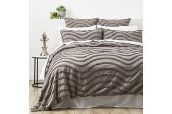 Cloud Linen Wave 100% Cotton Chenille Vintage washed tufted Quilt cover Set Grey