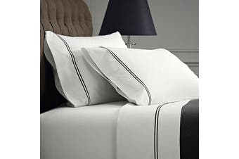 Renee Taylor Signature 1000 Thread count Egyptian Cotton sheet sets Queen Charcoal on White