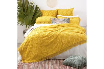 Park Avenue Medallion 100 % cotton Vintage washed Tuffted Bed Cover set Single to Double Misted Yellow
