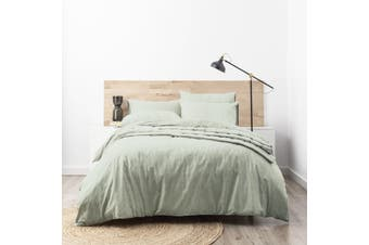 Park Avenue Paradis washed Chambray Quilt Cover set Super King Sage