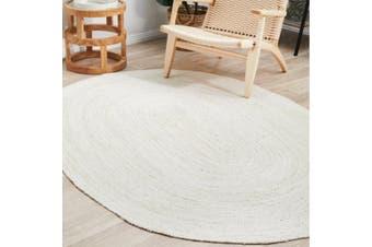 Sandridge Jute Ivory White Modern Oval Rug 190x280cm