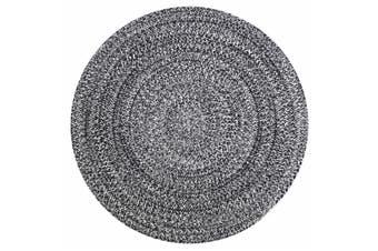 Odisha Braided Cotton Black White Round Floor Rug (M) 140x140cm