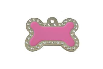 Coco & Pud Crystal Bone ID Tag - Dark Pink & Silver
