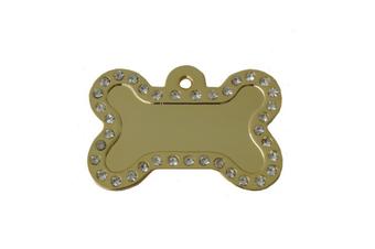 Coco & Pud Crystal Bone ID Tag - Gold