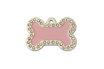 Coco & Pud Crystal Bone ID Tag - Pink & Silver