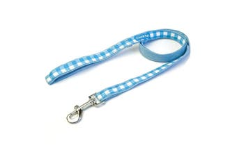 Gingham Dog Leads - Blue