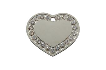 Coco & Pud Crystal Heart Dog ID Tag - Silver