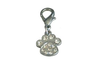 Coco & Pud Crystal Paw Collar Charm - Silver