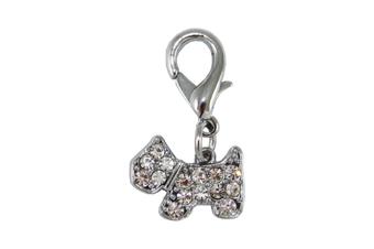 Coco & Pud Crystal Puppy Collar Charm - Silver
