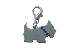 Scotty Dog Collar Charm - Silver/ Blue Crystals