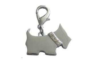 Scotty Dog Collar Charm - Silver/ Clear Crystals