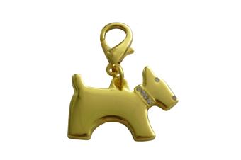 Terrier Dog Collar Charm - Gold