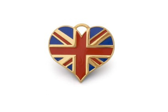 Union Jack Heart ID Tag - Gold