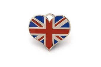 Union Jack Heart ID Tag - Silver